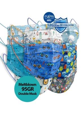 Sabomar Medizer Meltblown Ultrasonik Cerrahi Erkek Çocuk Maskesi 50 Adet - Telli - 10'ar Adet 5 Farklı Desen 0