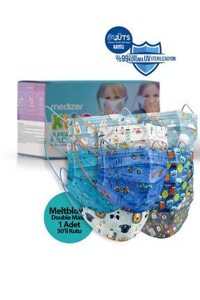 Sabomar Medizer Meltblown Ultrasonik Cerrahi Erkek Çocuk Maskesi 50 Adet - Telli - 10'ar Adet 5 Farklı Desen 1