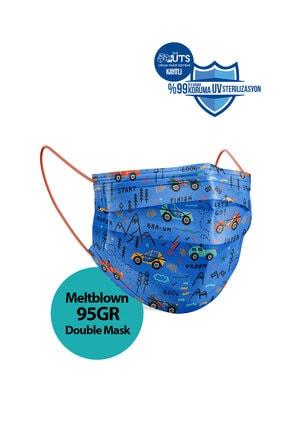 Sabomar Medizer Meltblown Ultrasonik Cerrahi Erkek Çocuk Maskesi 50 Adet - Telli - 10'ar Adet 5 Farklı Desen 2