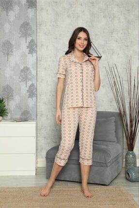 SEYKO Kadın Krem Rengi Penye Bermuda Pijama Takımı 0