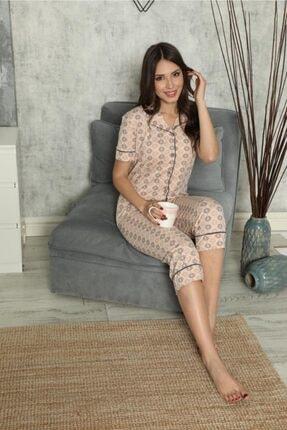SEYKO Kadın Krem Rengi Penye Bermuda Pijama Takımı 3
