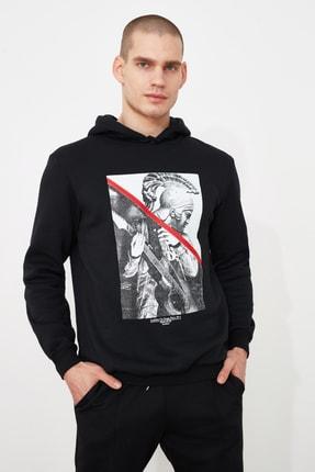 TRENDYOL MAN Siyah Erkek Baskılı Sweatshirt TMNAW21SW0979 0