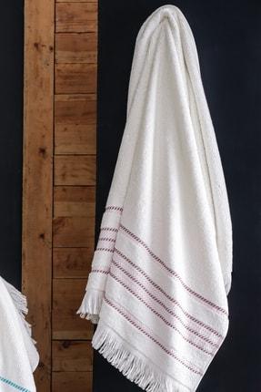 Tertio Stripe Pembe Bordür %100 Pamuk Ekstra Yumuşak 2'li Havlu Seti (50x100 + 70x140) 2