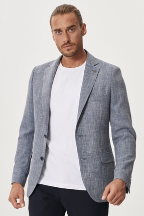 Altınyıldız Classics Erkek Mavi Slim Fit Dar Kesim Mono Yaka Desenli Casual Ceket 1