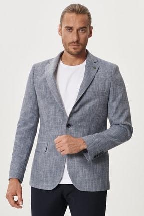 Altınyıldız Classics Erkek Mavi Slim Fit Dar Kesim Mono Yaka Desenli Casual Ceket 2