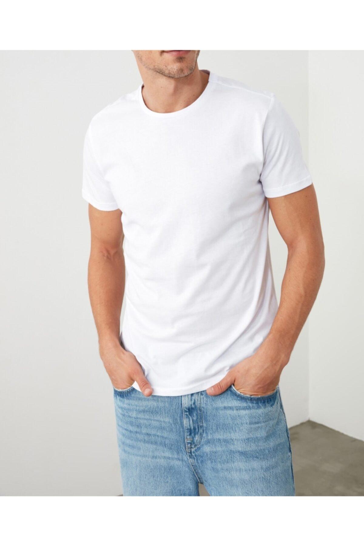 Erkek Beyaz Basic Pamuk Bisiklet Yaka T-shirt