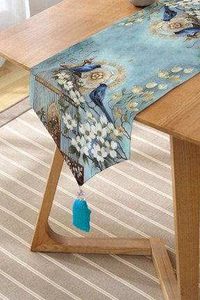 Realhomes Mavi Kuş Desen Dijital Baskılı Dekoratif Püsküllü Şönil Üçgen Runner 1
