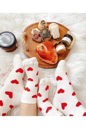 Mira Aksesuar Anne Kız Çocuk Bebek Kırmızı Kalpli Çorap Seti 0