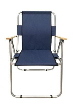 Tedarikcenter Kamp Sandalyesi 2 Adet Ahşap Kollu Katlanabilir Kamp Sandalyesi - Lacivert 1