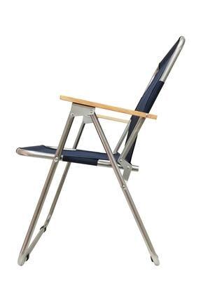 Tedarikcenter Kamp Sandalyesi 2 Adet Ahşap Kollu Katlanabilir Kamp Sandalyesi - Lacivert 2