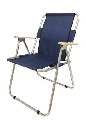 Tedarikcenter Kamp Sandalyesi 2 Adet Ahşap Kollu Katlanabilir Kamp Sandalyesi - Lacivert 3