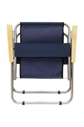 Tedarikcenter Kamp Sandalyesi 2 Adet Ahşap Kollu Katlanabilir Kamp Sandalyesi - Lacivert 4