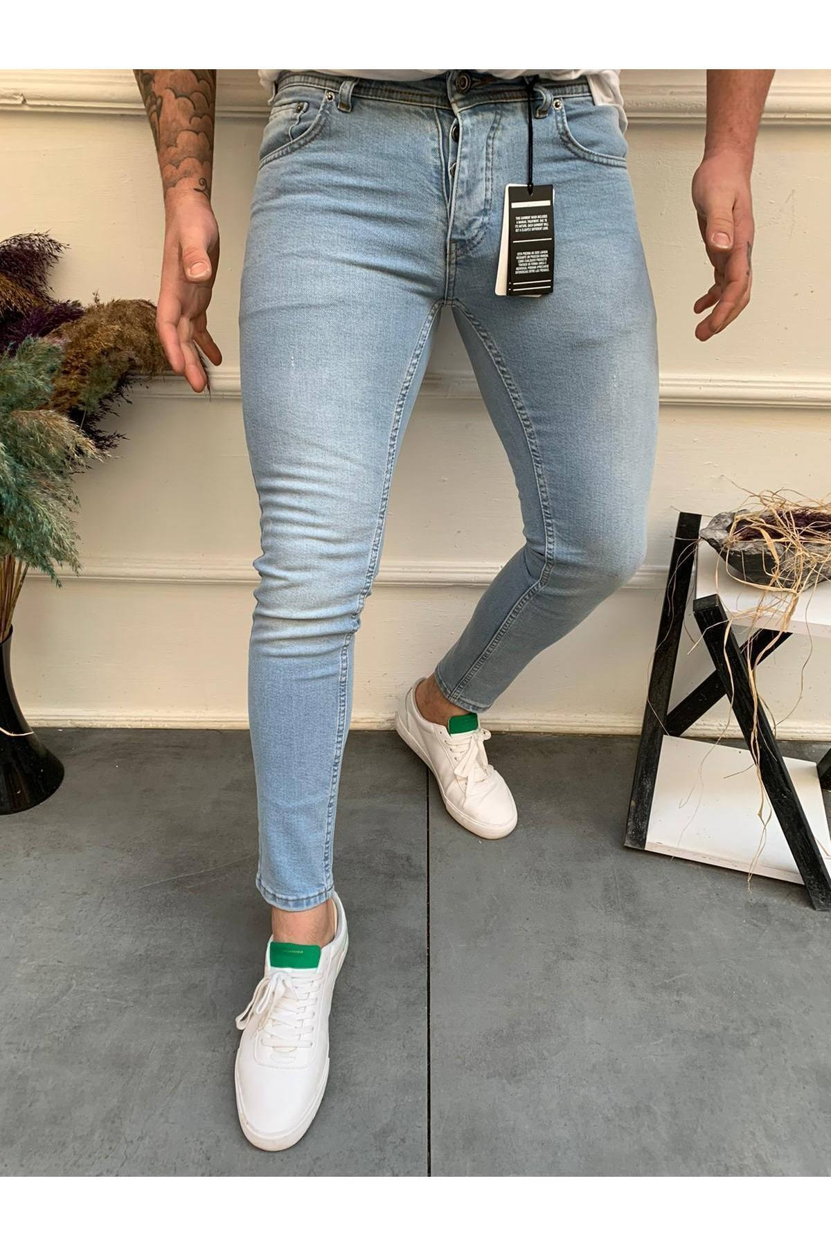 Erkek Buz Mavi Slim Fit Jean Pantolon