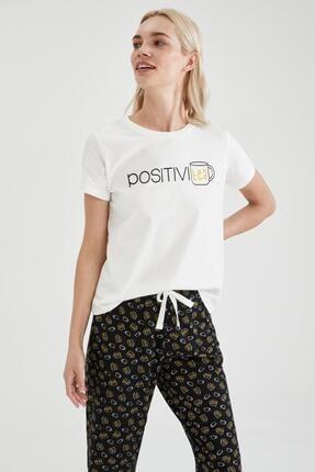 Defacto Kadın Siyah Slogan Baskılı Kısa Kol Pijama Takımı 1