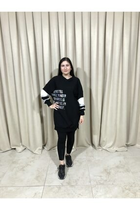 Loreen Kadın Siyah Kol Detaylı Sweatshirt 0