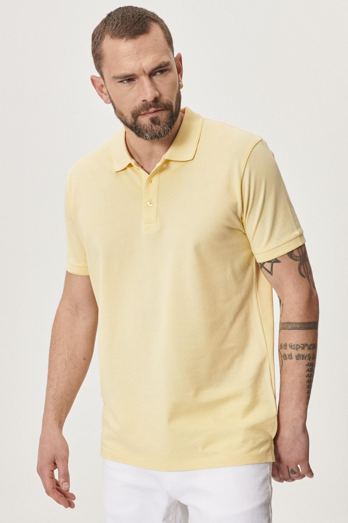 Erkek Sarı-Beyaz Düğmeli Polo Yaka Cepsiz Slim Fit Dar Kesim Düz Tişört