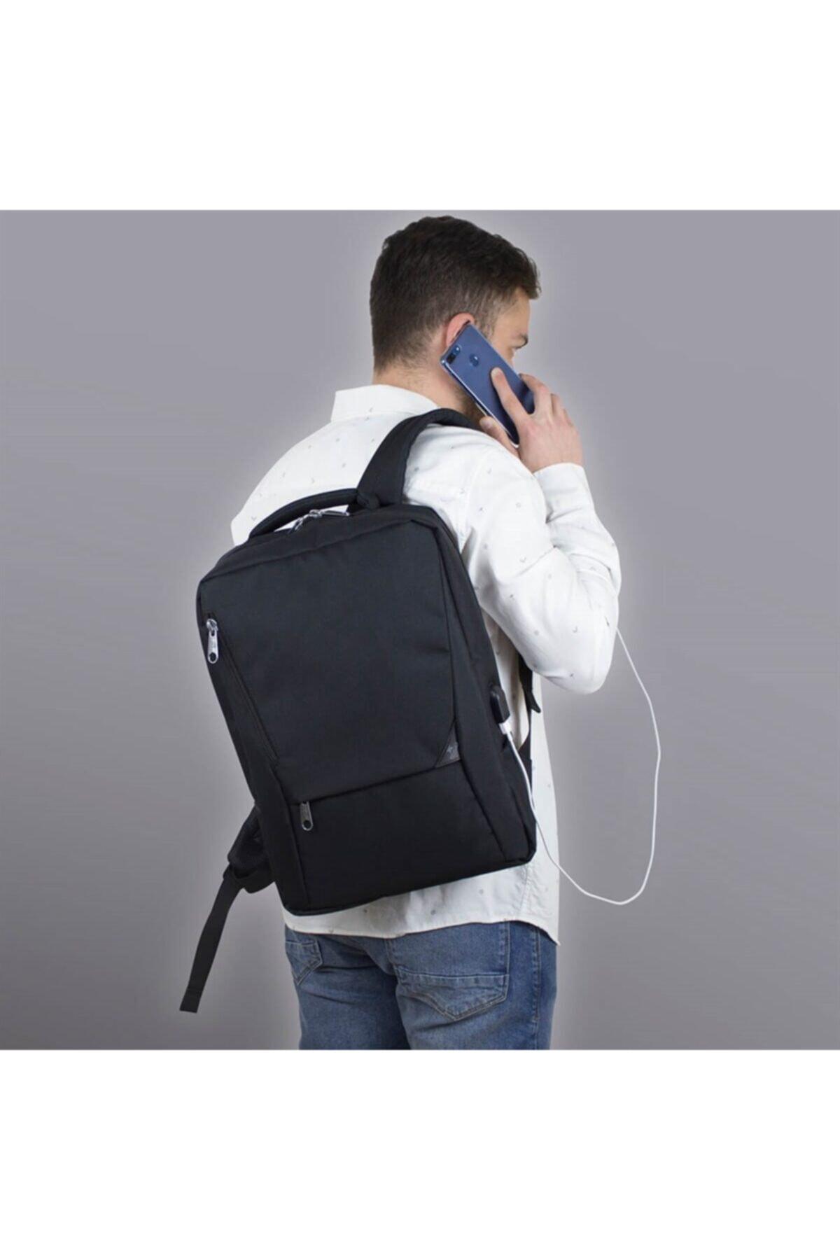 Smart Bag Active Usb Şarj Girişli Slim Notebook Sırt Çantası Siyah