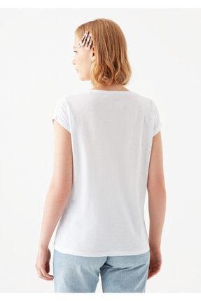 Mavi Cepli Beyaz Basic Tişört 4