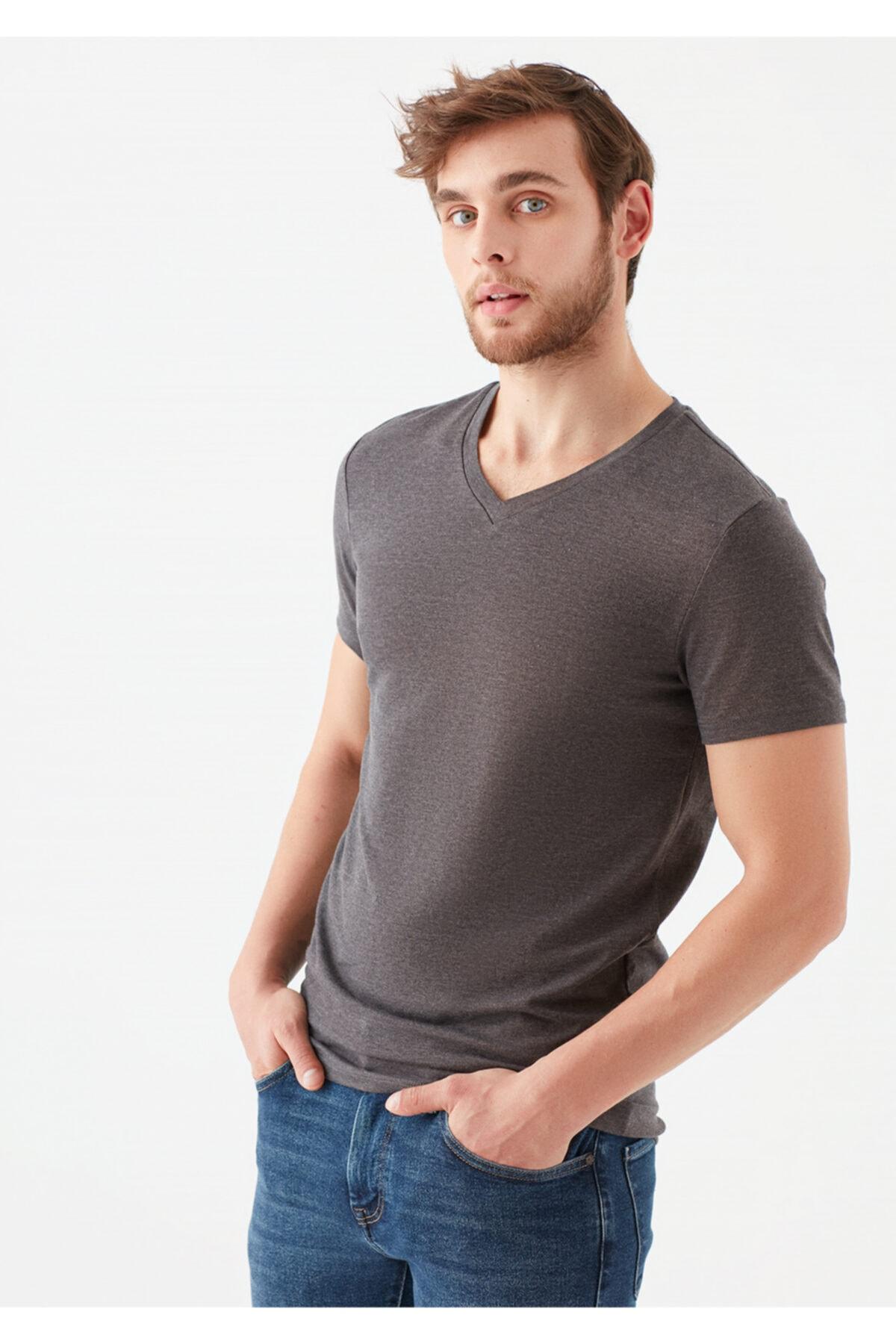 V Yaka Streç Gri Basic Tişört