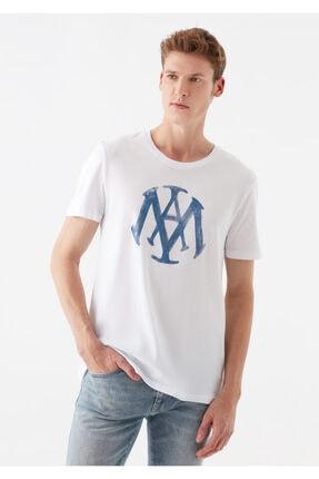 Mavi Logo Baskılı Beyaz Tişört 1