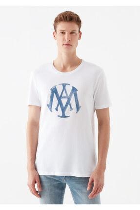 Mavi Logo Baskılı Beyaz Tişört 2