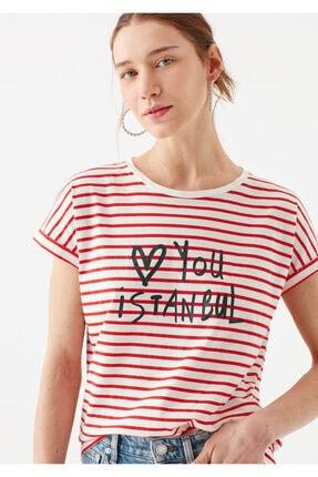 Mavi Love You Baskılı Çizgili Istanbul Tişört 2