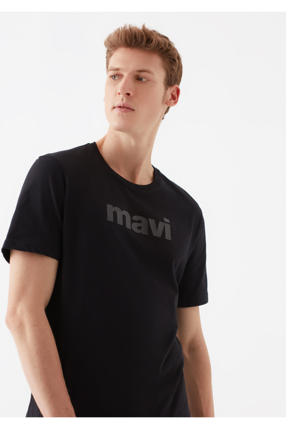 Logo Baskılı Siyah Tişört