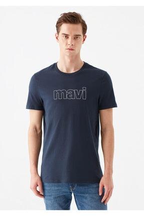 Mavi Logo Baskılı Lacivert Tişört 2