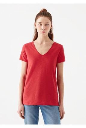 Mavi V Yaka Kırmızı Basic Tişört 3