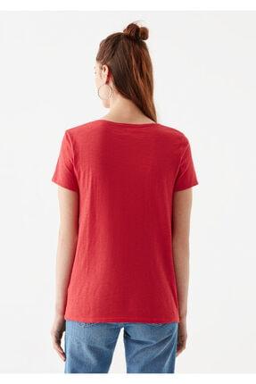 Mavi V Yaka Kırmızı Basic Tişört 4