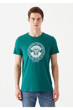 Mavi Erkek Yeşil Logo Baskılı T-Shirt 2