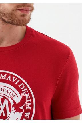 Mavi Erkek Kırmızı Logo Baskılı Tişört 4
