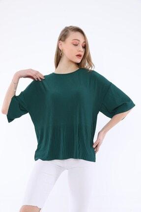 Tiefti Kadın Yeşil Fitilli Kısa Kol  Bluz 3
