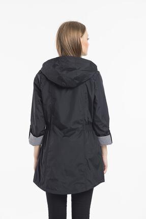 ladyzey Kadın Ceket Yaka Beli Lastkli Katlanabilir Kol Astarlı Trençkot 2