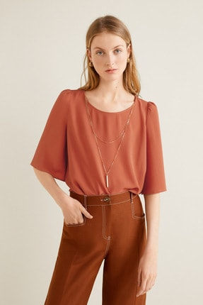 Mango Kadın Kızıl Kahverengi Yakalı Bluz 43085784 1