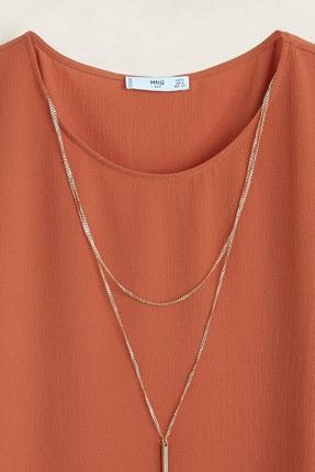 Mango Kadın Kızıl Kahverengi Yakalı Bluz 43085784 4
