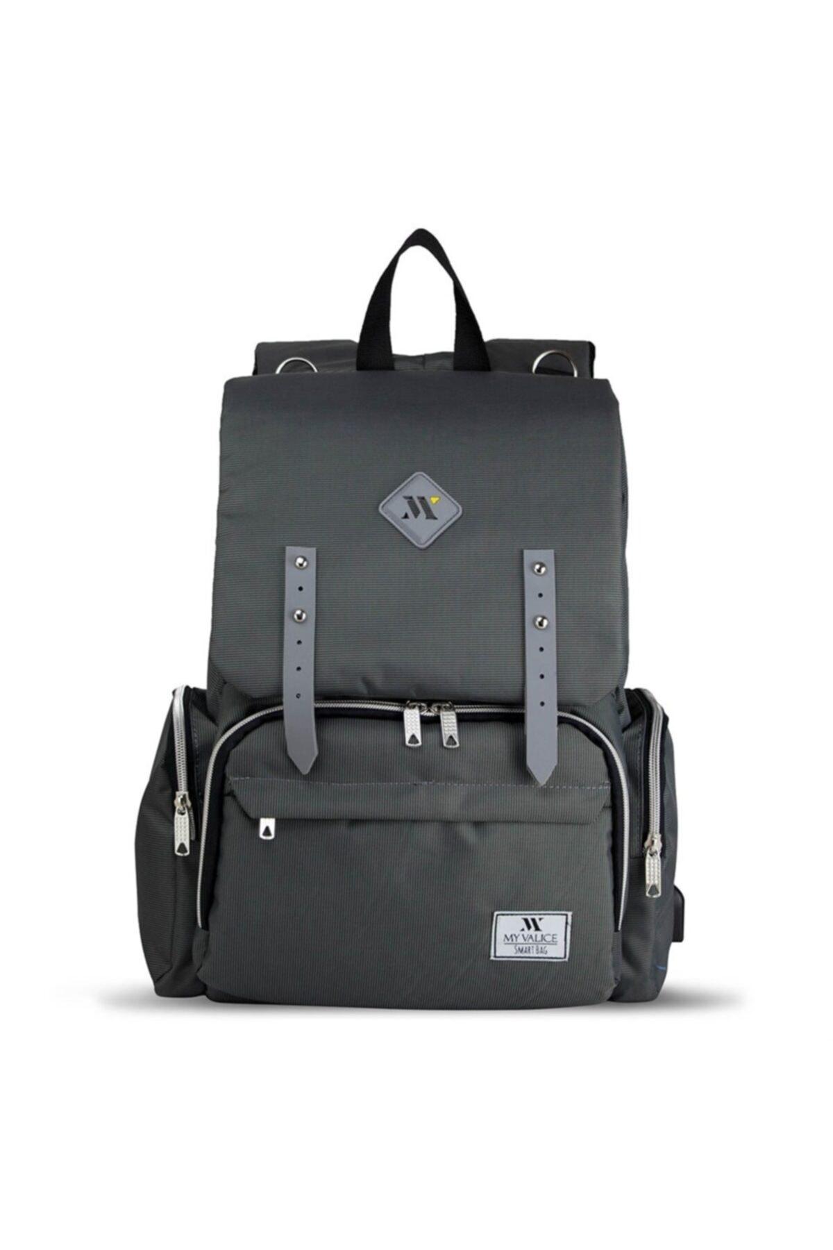 My Valice Unisex Gri Smart Bag Mother Star USB'li Anne Bebek Bakım Çantası