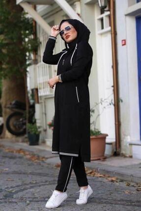 Camelya Fashion Kadın Siyah Eşofman Takımı 2'li 1