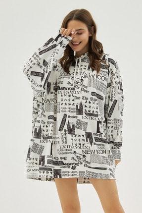 Pattaya Kadın Beyaz Yazılı Baskılı Oversize Sweatshirt P20w-4127 2