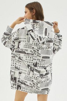 Pattaya Kadın Beyaz Yazılı Baskılı Oversize Sweatshirt P20w-4127 3