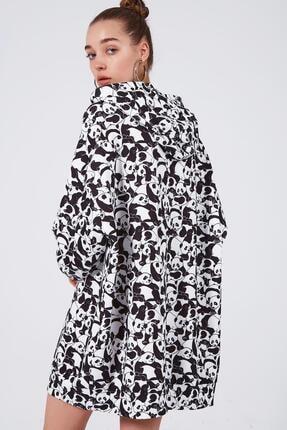 Pattaya Kadın Baskılı Oversize Sweatshirt Elbise P20w-4127 3