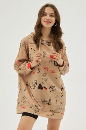 Pattaya Kadın Bej Baskılı Oversize Sweatshirt Elbise P20w-4127 0
