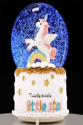 HEDİYE FİKRİ Büyük Boy Otomatik Kar Püskürten Işıklı ve Müzikli Unicorn Kar Küresi 1