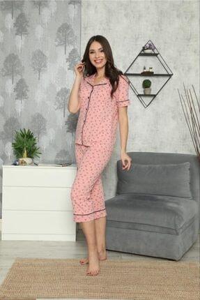 SEYKO Kadın Pembe Penye Bermuda Pijama Takımı 2