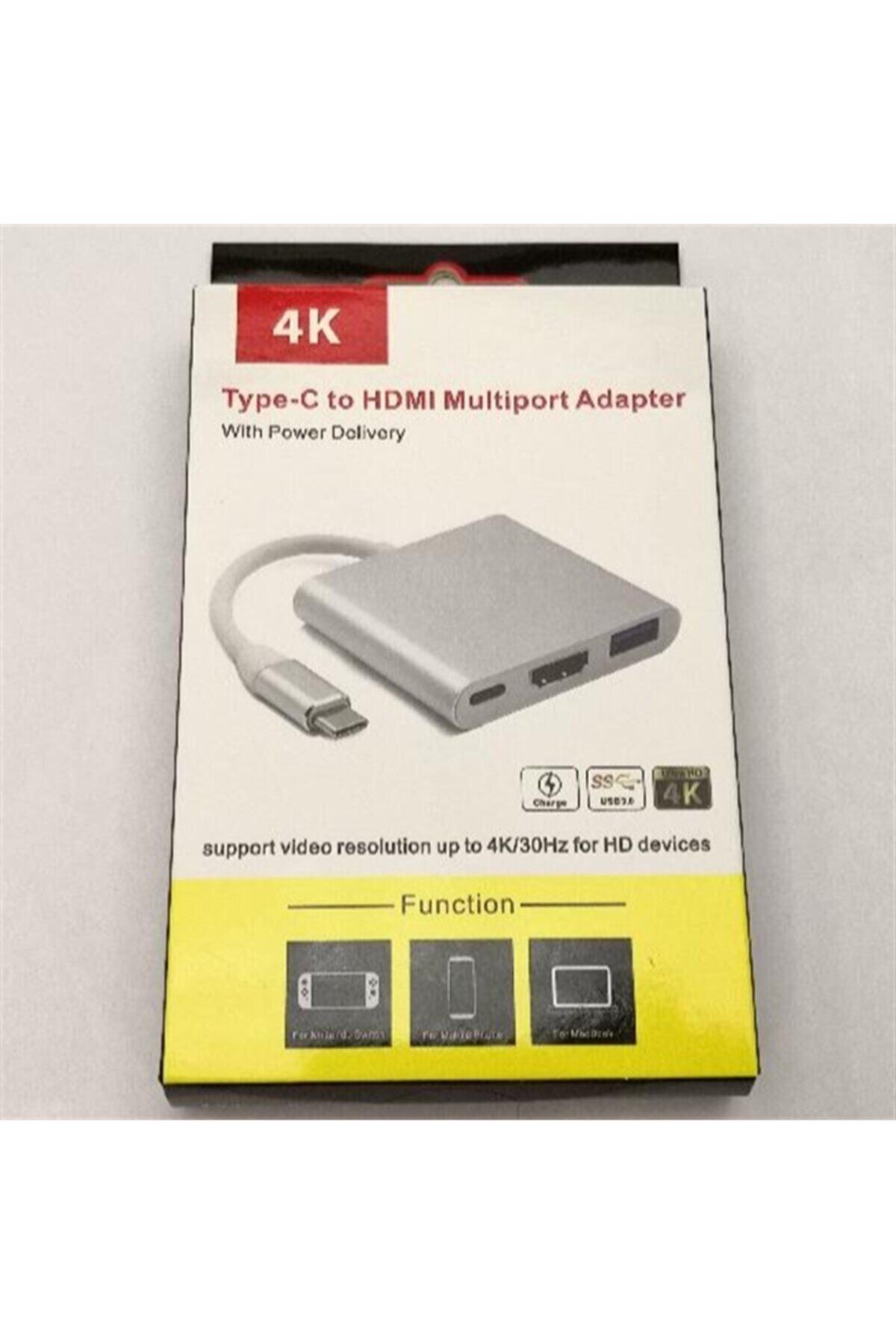 HADRON 3in1 Type-c To 4k Hdmı, Usb 3.0, Type-c Multi Dönüştürücü Adaptör