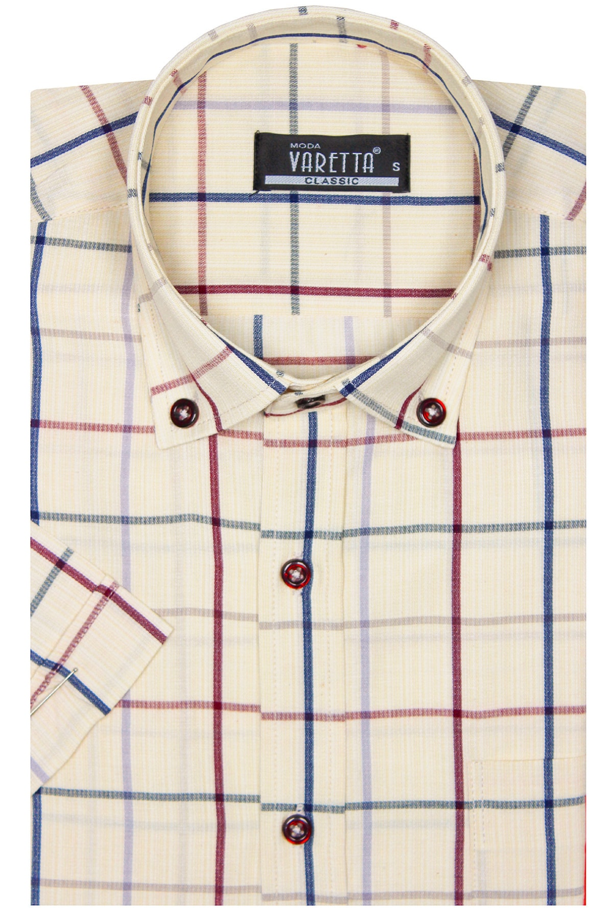 Erkek Bej Rengi Kısa Kol Yaka Düğmeli Kareli Tek Cepli Klasik Kesim Gömlek