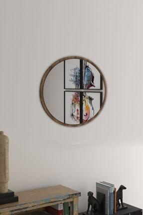 bluecape Yuvarlak Ceviz Duvar Salon Ofis Aynası 45 cm 1