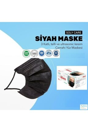 "Soly ""siyah"" Care Cerrahi Maske 50 Adet (50'li 1 Kutu) Üç Katlı Lastikli Burun Telli 0"
