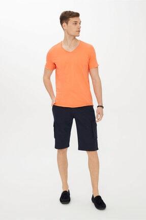 Kiğılı Erkek Açık Turuncu V Yaka Slim Fit Tişört 1
