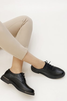Marjin Kadın Siyah Oxford Ayakkabı Adef 1